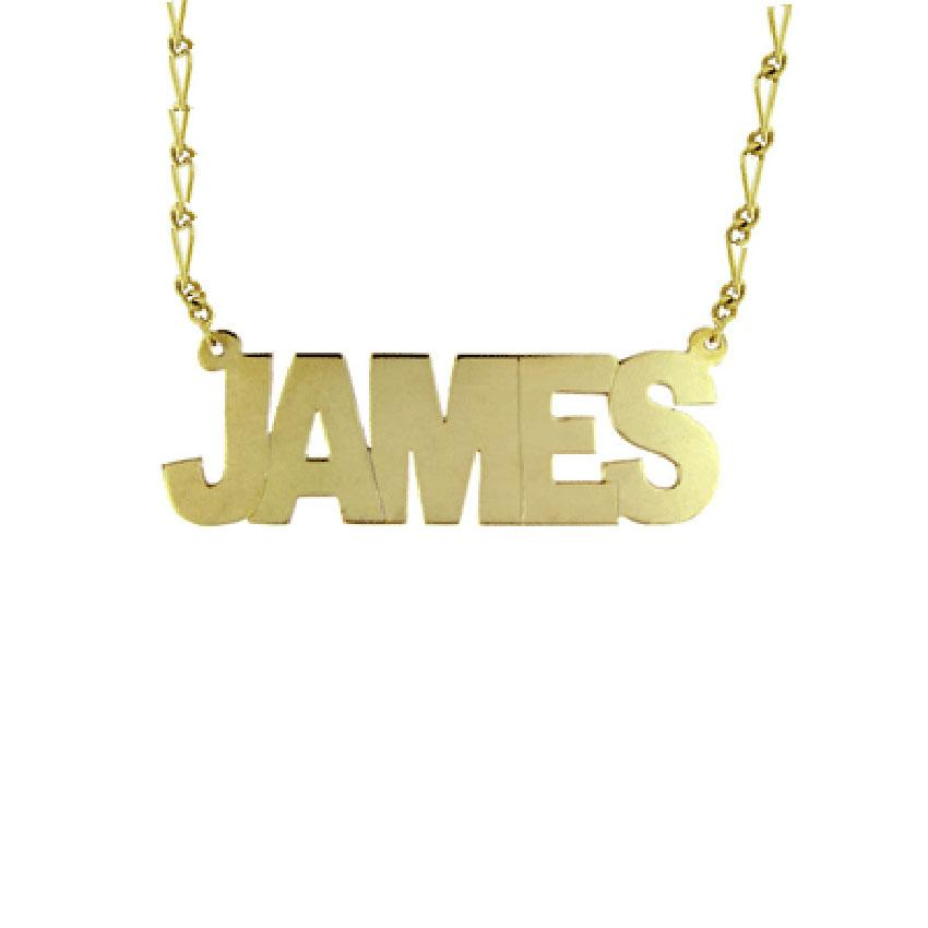Mens Capital Block Name Necklace on Figaro Chain
