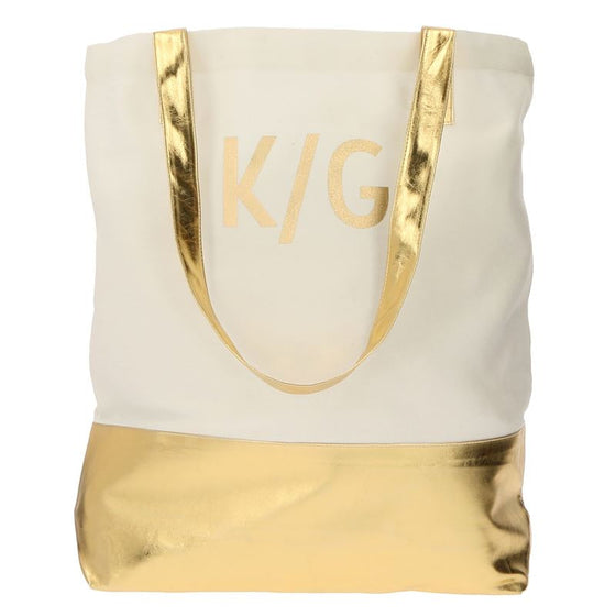 Personalized Metallic Color Block Tote Bag - 3 Colors