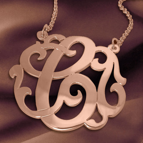 24K Rose Gold Plated Swirly Initial Necklace On Split Chain