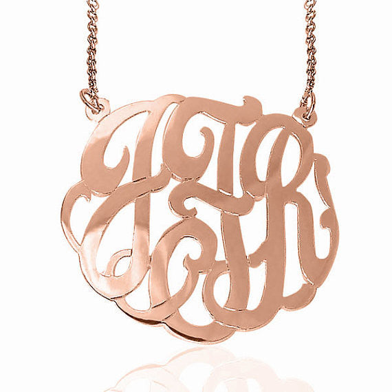 24K Rose Gold Plated Fancy Script Monogram Necklace Split Chain