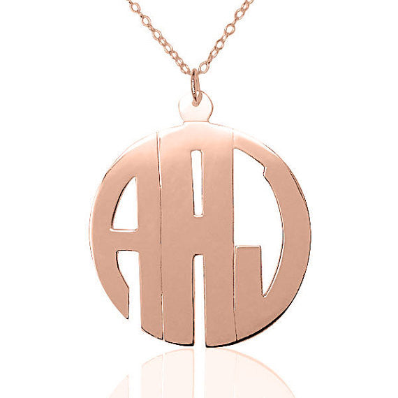24K Rose Gold Plated Block Monogram Necklace