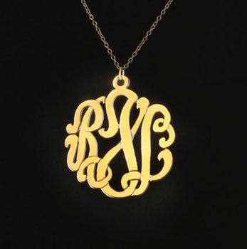 24K Gold Plated Script Monogram Necklace Alternate 1