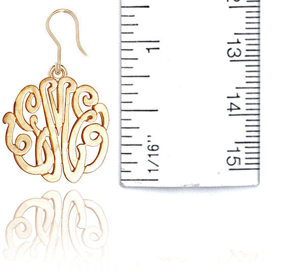24K Gold Plated Monogram Dangle Earrings Alternate 1