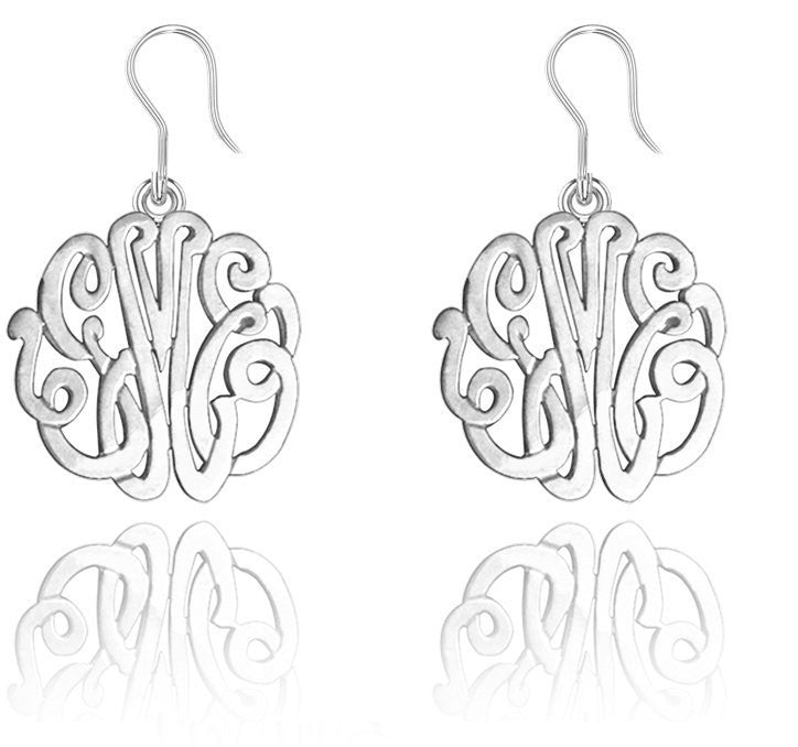Sterling Silver Monogram Dangle Earrings
