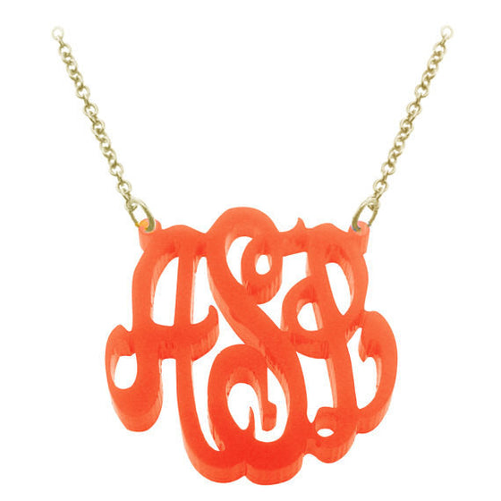 Orange Script Acrylic Monogram Necklace