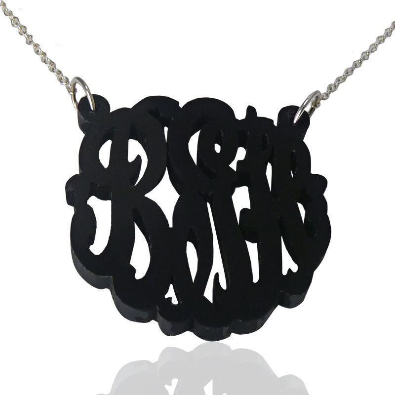Black Script Acrylic Monogram Necklace