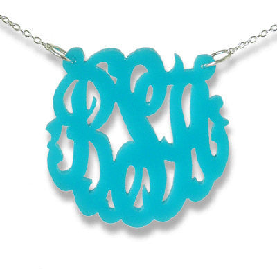 Turquoise Acrylic Monogram Necklace