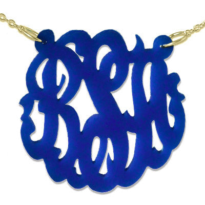 Navy Script Acrylic Monogram Necklace