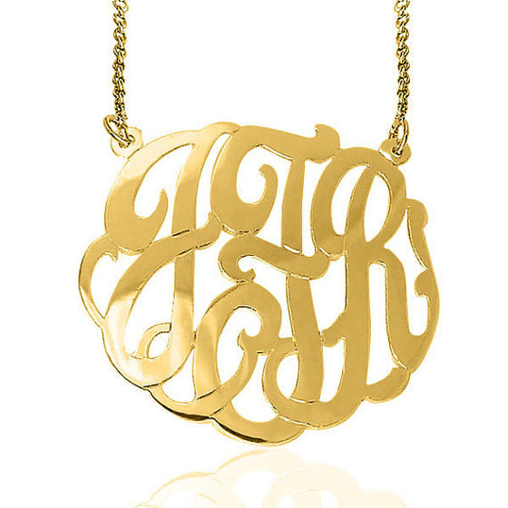 24K Gold Plated Fancy Script Monogram Necklace Split Chain