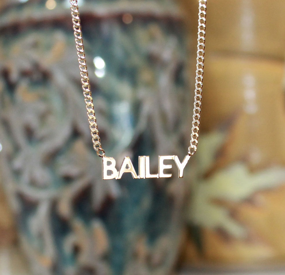 Gold Mini Block Name Necklace