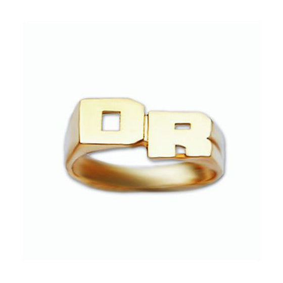 Personalized Gold Stacked Mini Initial Ring- 6mm