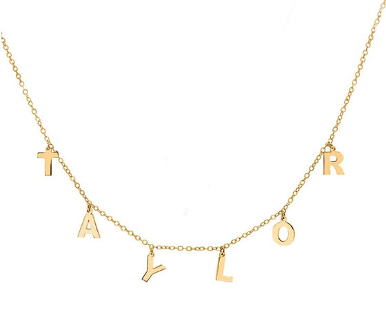 Dangling Mini Initial Name Necklace - Khloe Kardashian