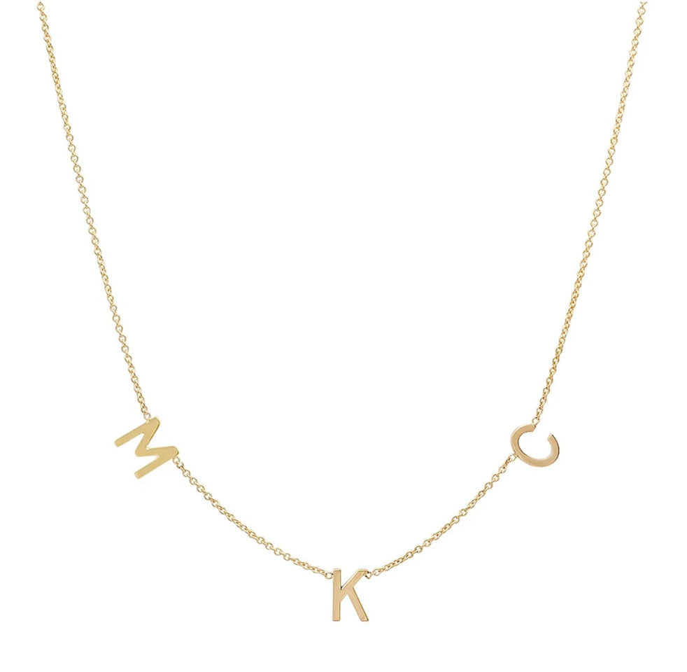 Small Spaced Initial Necklace - Up To 5 Letters