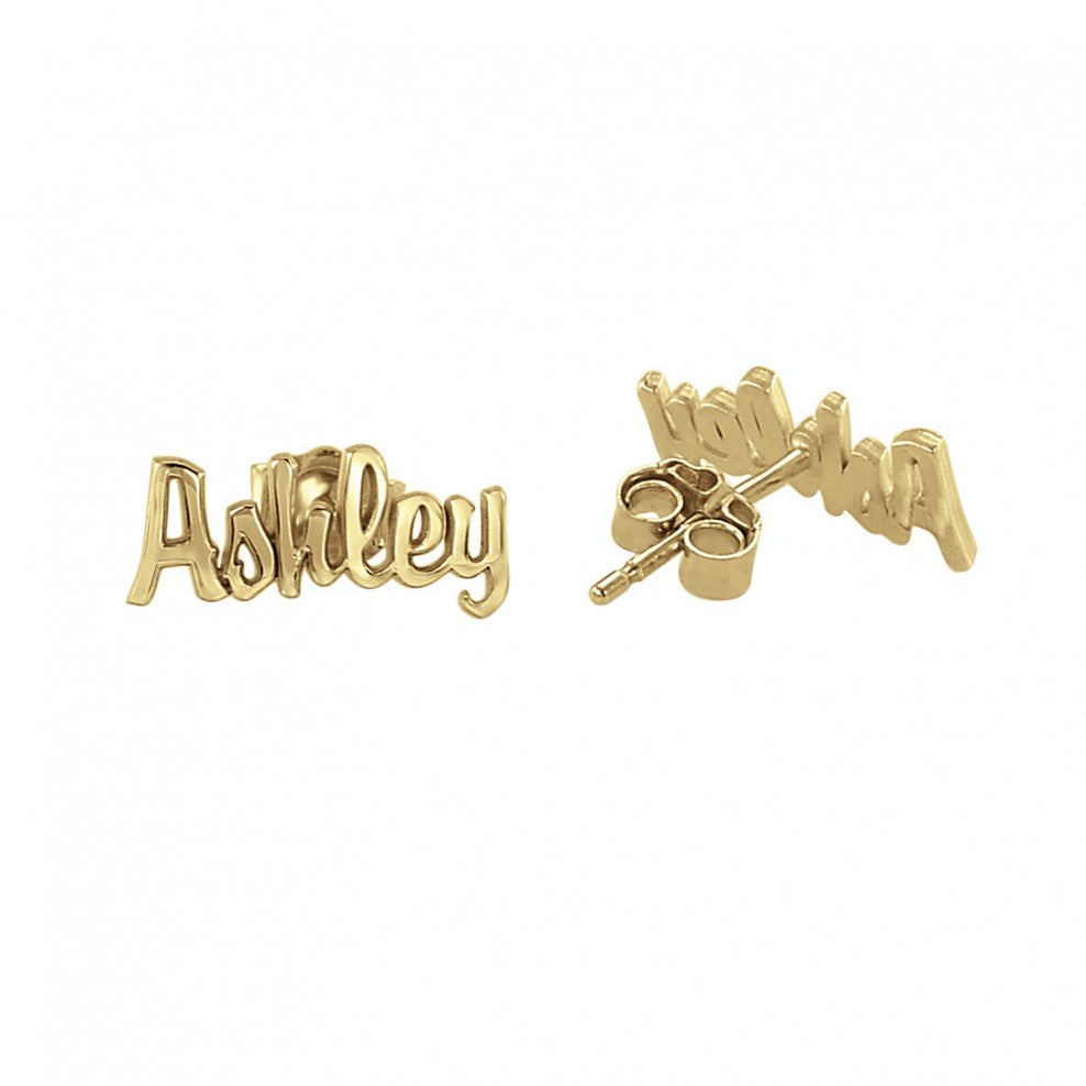 14K Solid Gold Script Name Earrings