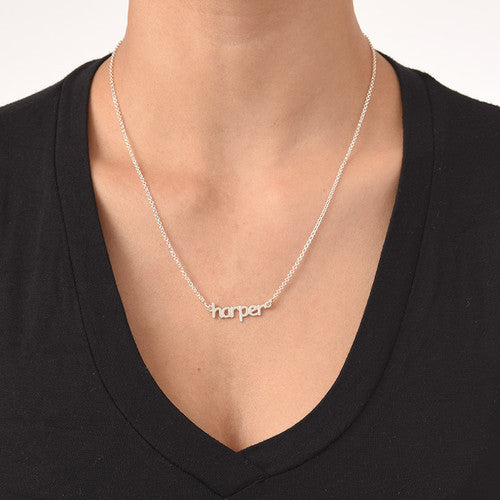 2d8e28fb67406f Silver Mini Nameplate Necklace - Lowercase Block Font - Be Monogrammed