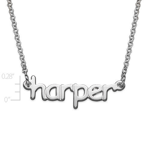 Mini Nameplate Necklace-Lowercase Block Font