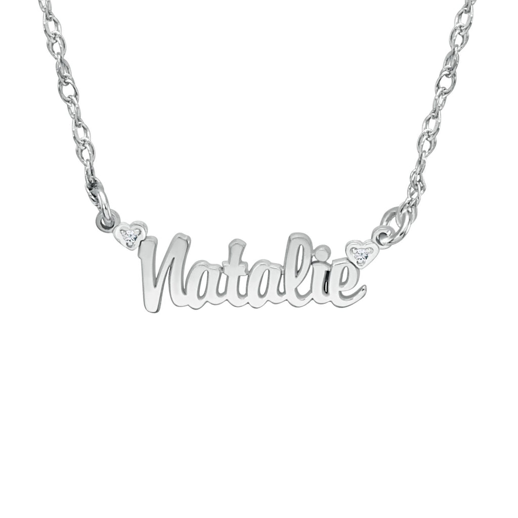 14K Solid Gold Mini Nameplate Necklace with Diamonds 3