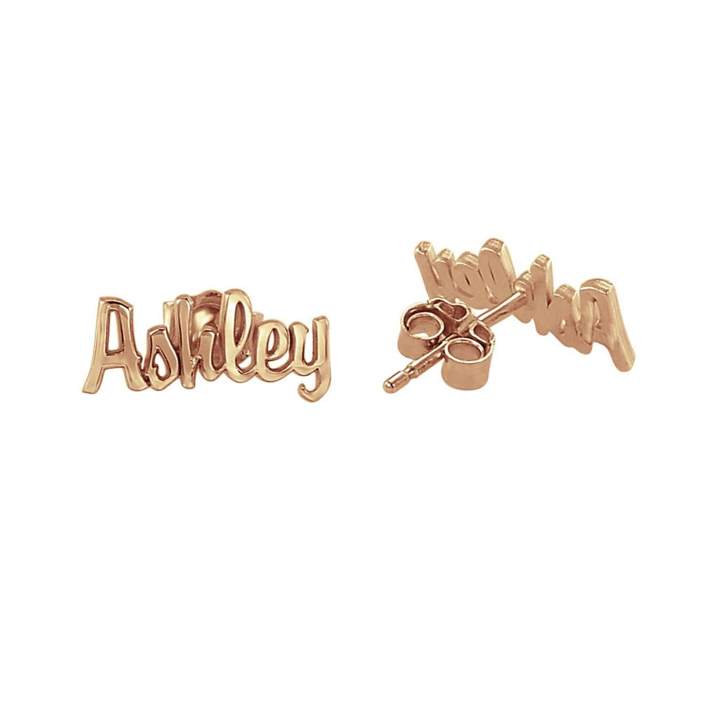 14K Solid Gold Script Name Earrings 2