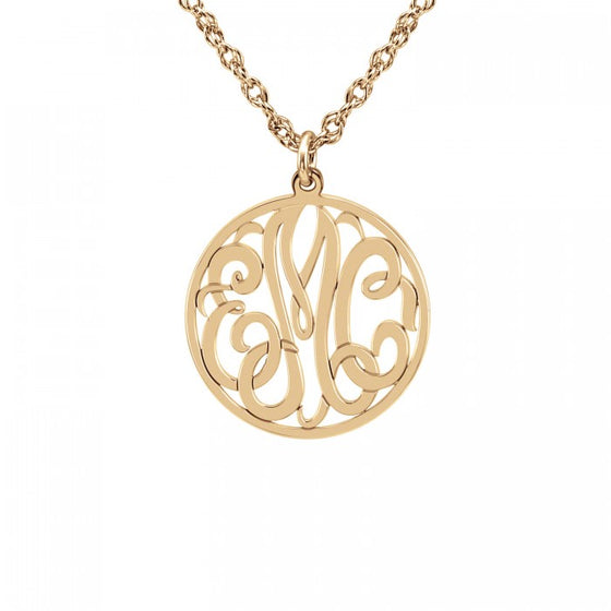 Mini Script Halo Monogram Necklace