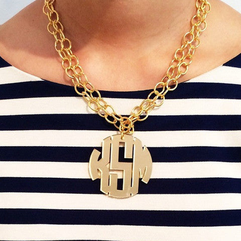 Extra Large Acrylic Block Monogram Necklace   Long Chain