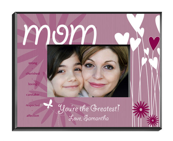 Personalized Mother Hearts Flowers Picture Frame