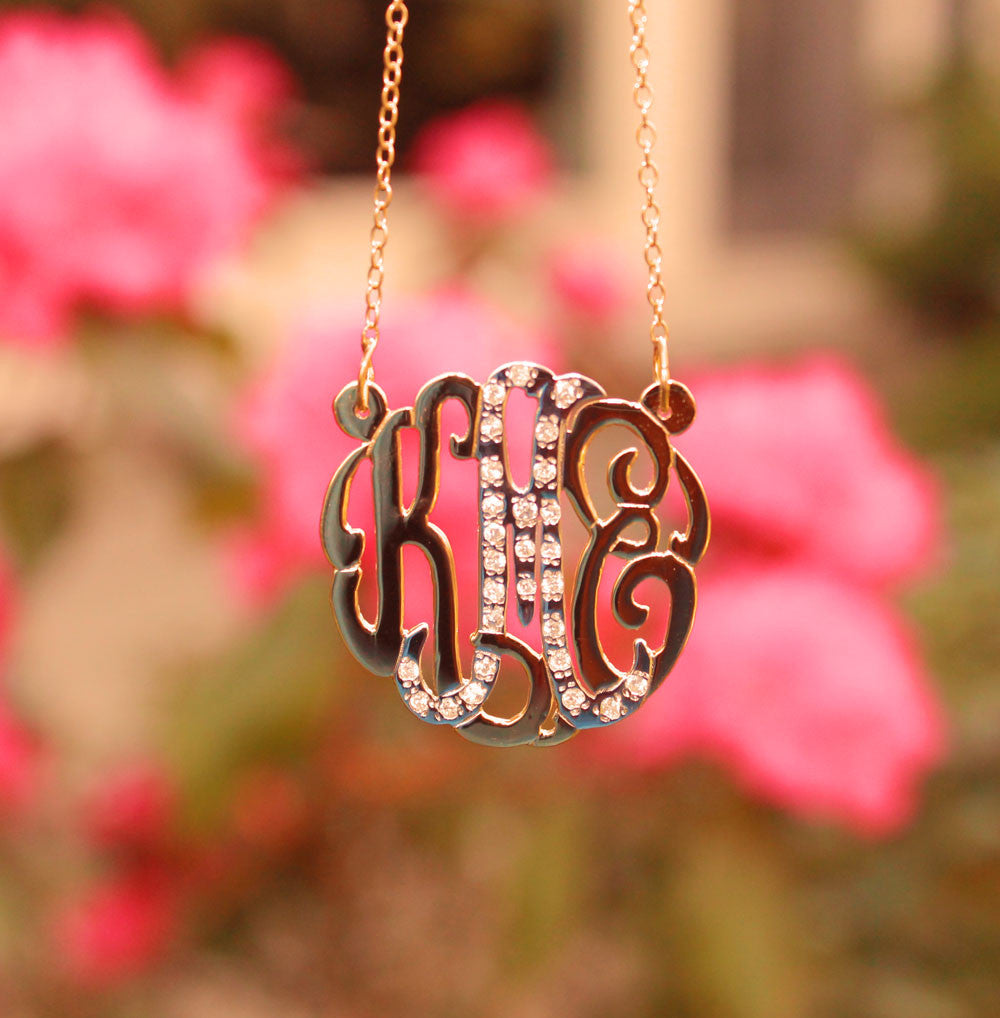 monogram cz necklace