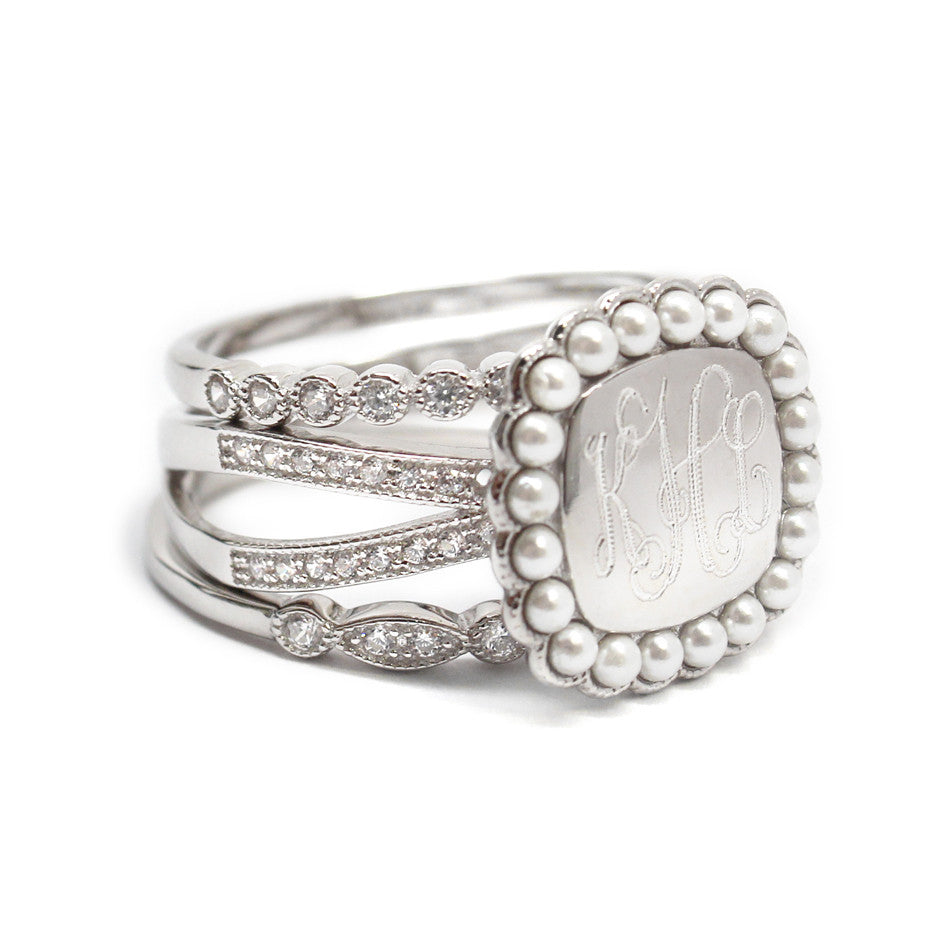 Silver CZ and Pearl Rimmed Monogram Stacking Ring 3
