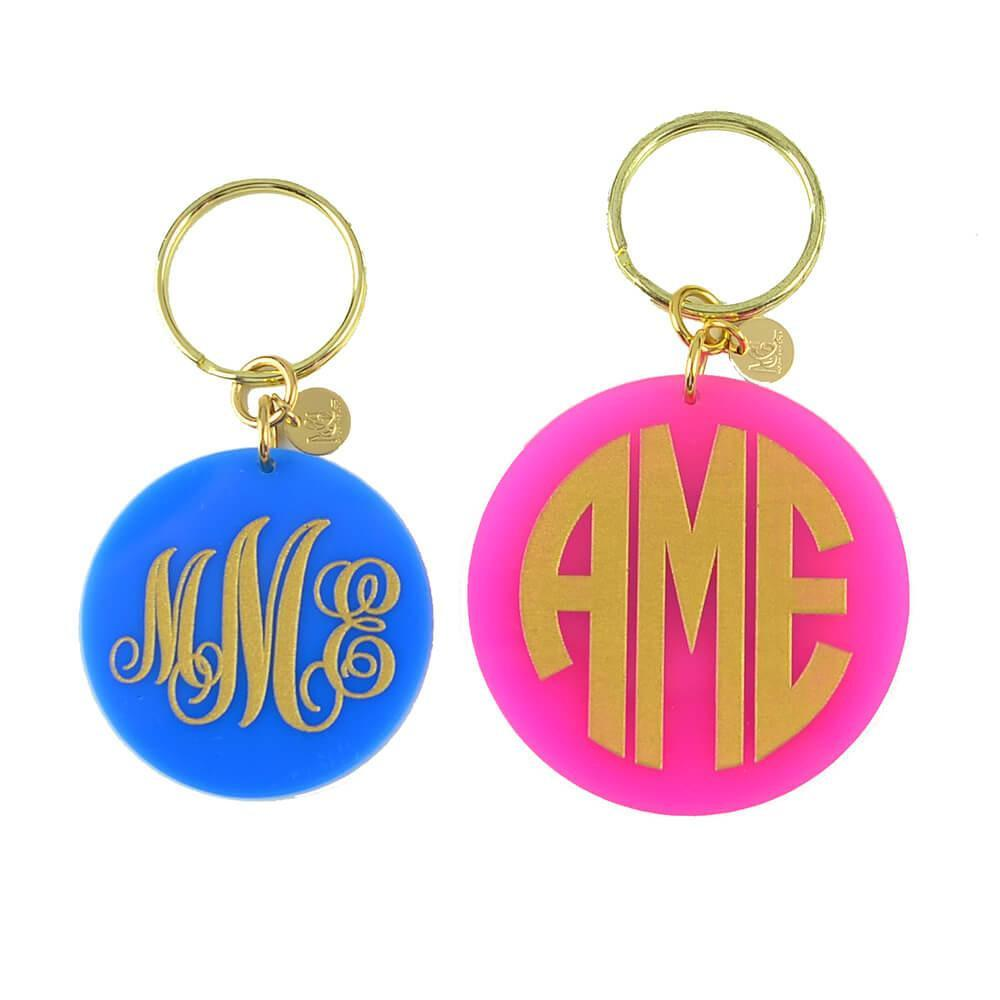 Hartford Block Monogram Keychain