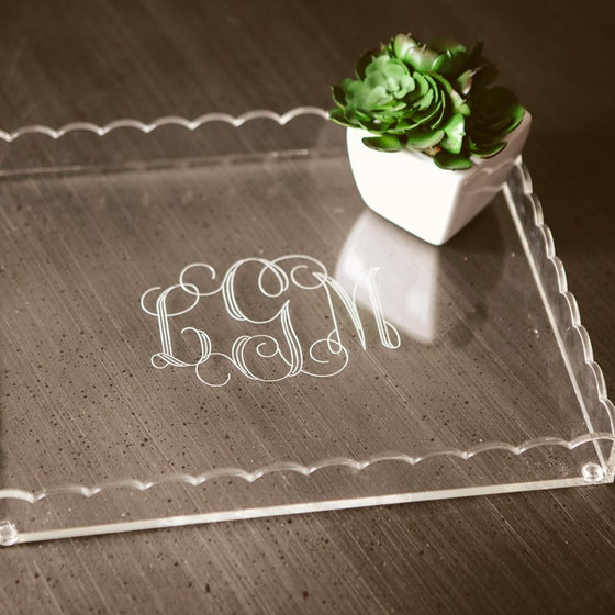 Monogrammed Scalloped Acrylic Tray