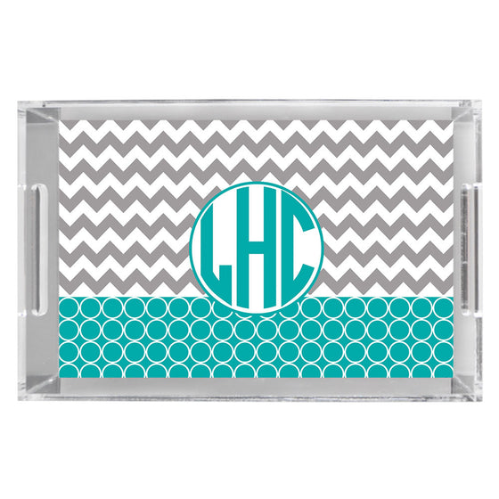 Monogram Acrylic Tray - Chevron Hoops