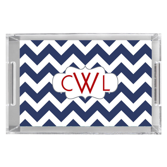 Monogram Acrylic Tray - Chevron