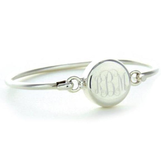Monogram Sterling Silver Round Latch Bangle Bracelet 2