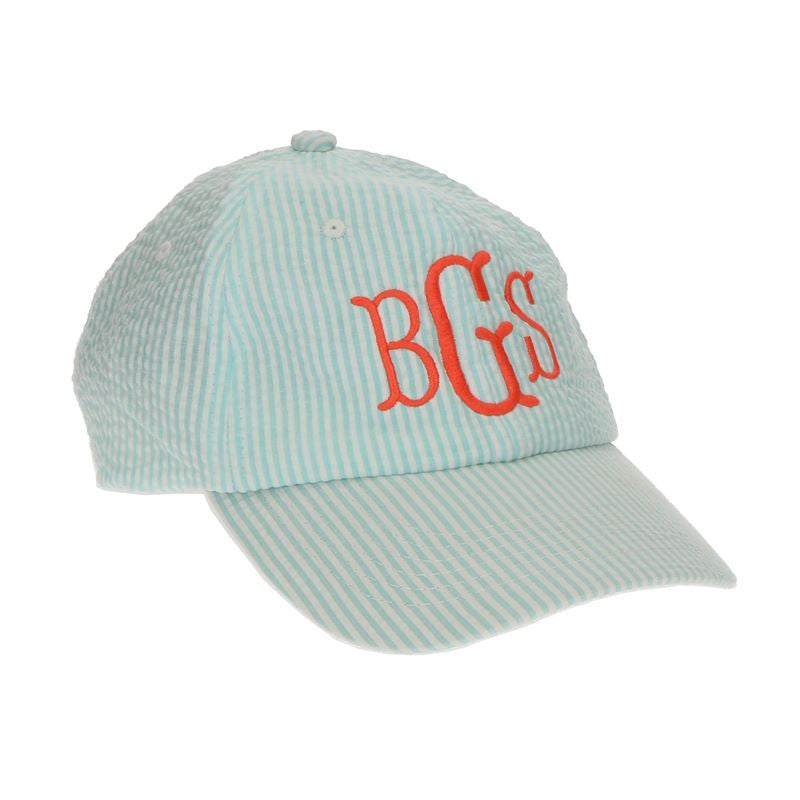 Monogram Baseball Cap - Blue Seersucker