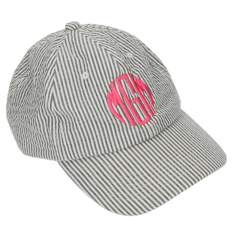 Personalized Baseball Cap-Grey Seersucker