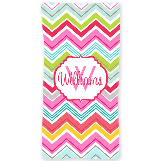 Personalized Beach Towel-Multi Chevron