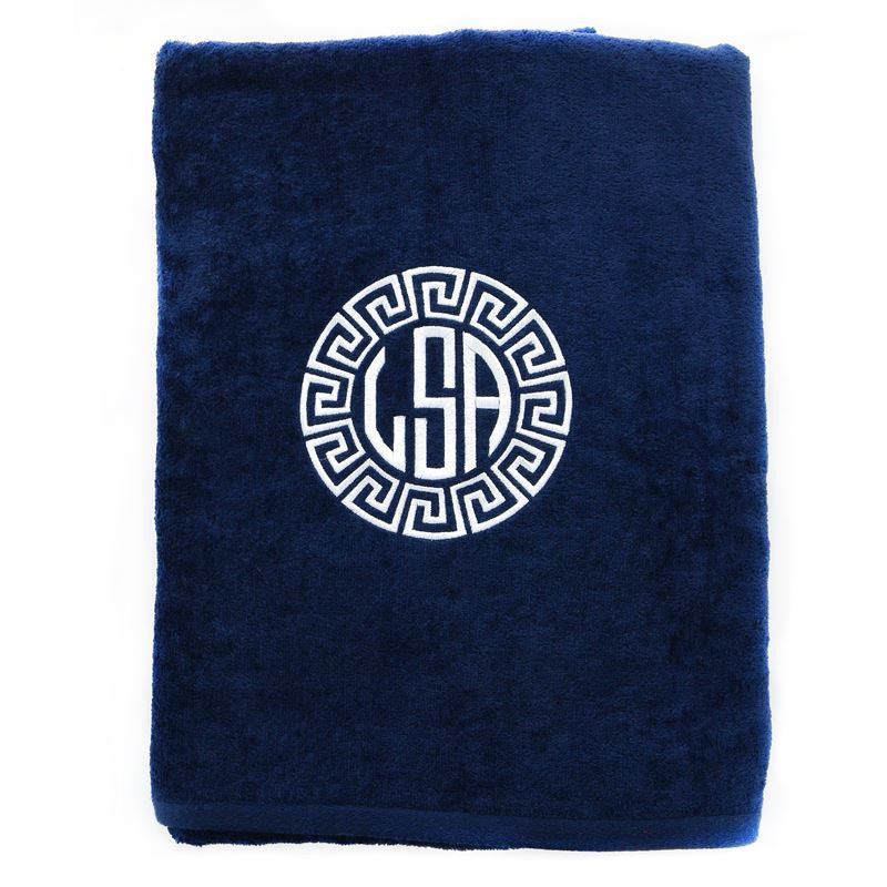 Monogrammed Navy Beach Towel