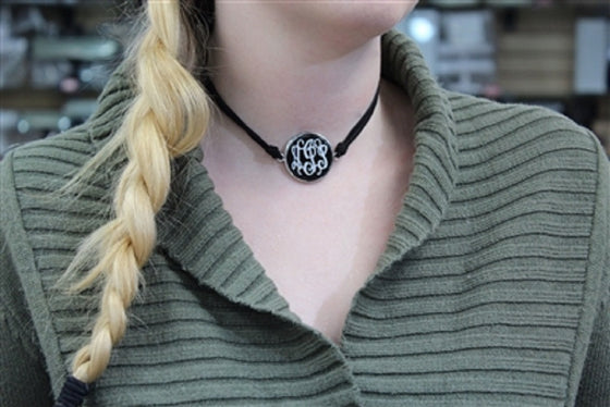 Monogram Leather Choker Necklace - Black