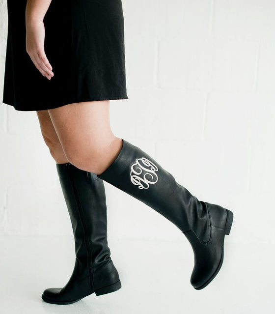 Brooklyn Monogram Boots - Black or Brown 5
