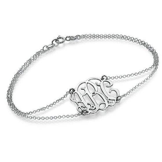 Sterling Silver Double Chain Monogram Bracelet