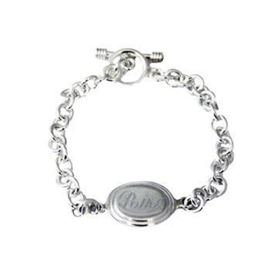 Monogram Sterling Silver Link Bracelet - Beveled Edge Disc