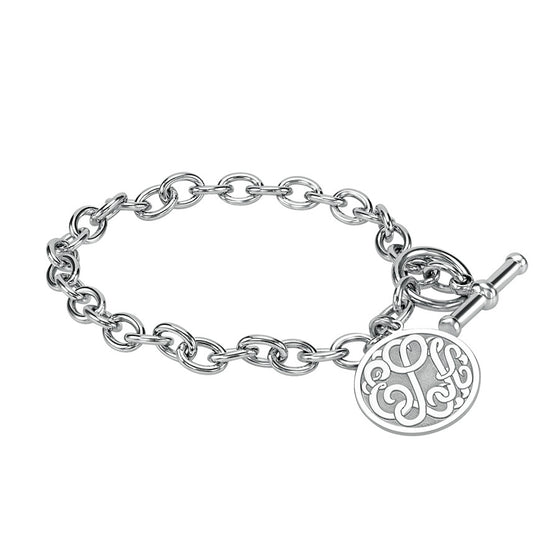 Monogram Toggle Bracelet - Recessed Border