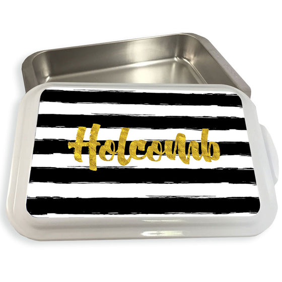 Monogrammed Casserole Dish-Painted Stripe