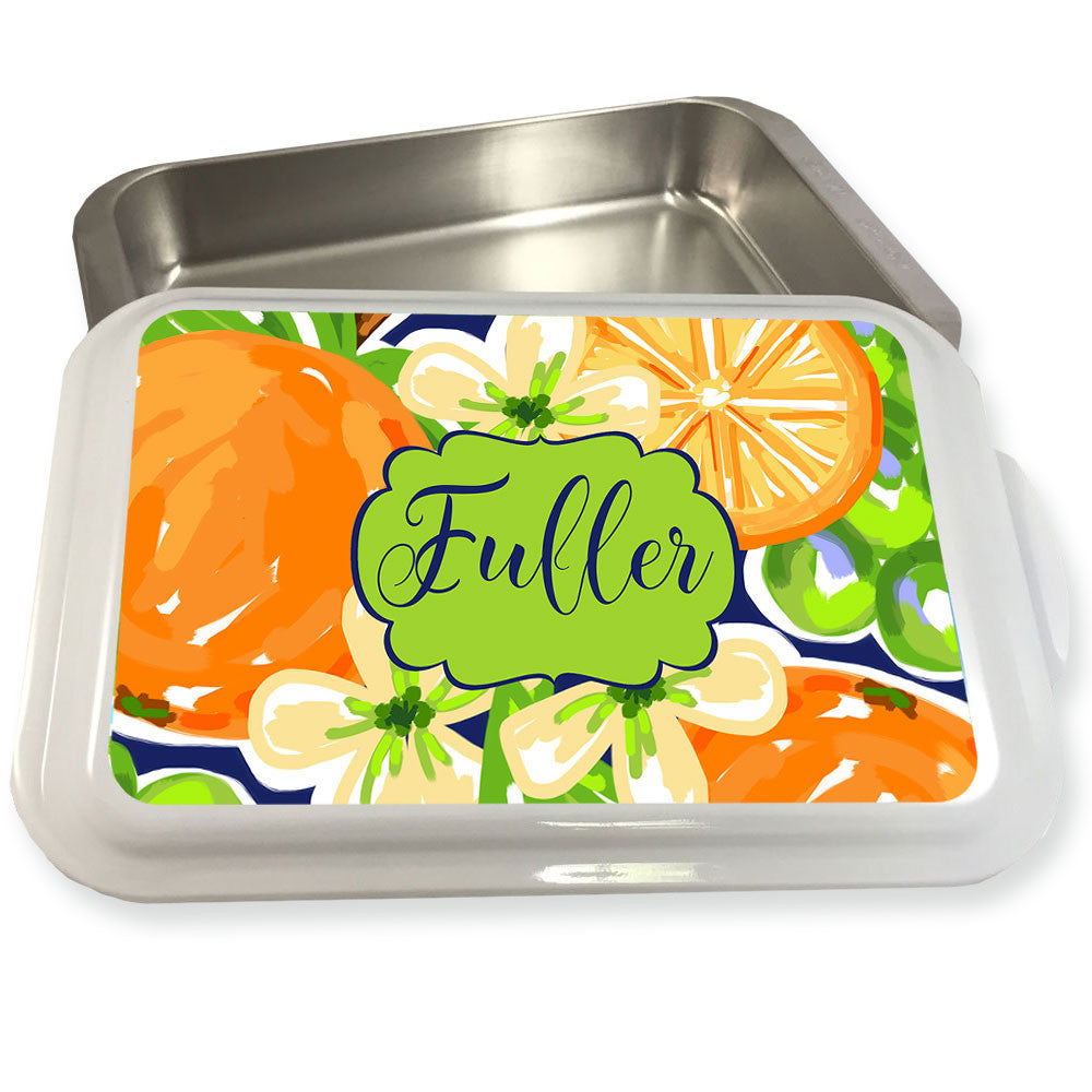 Monogrammed Casserole Dish-Orange Blossoms