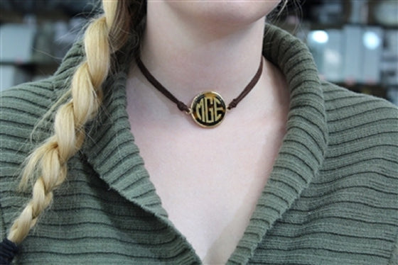 Monogram Leather Choker Necklace - Tortoise Shell