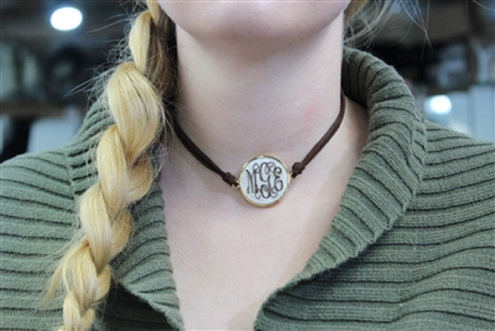 Monogram Leather Choker Necklace - Marble