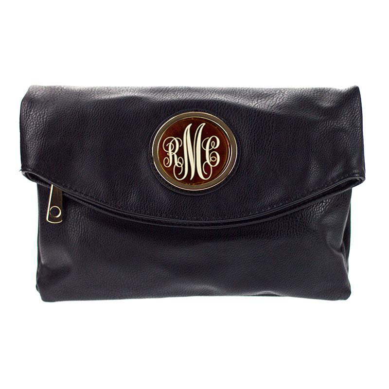 Monogram Samantha Foldover Clutch - Black