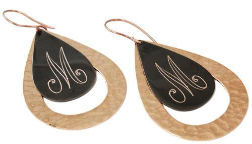 Personalized Teardrop Chocolate Copper Earrings