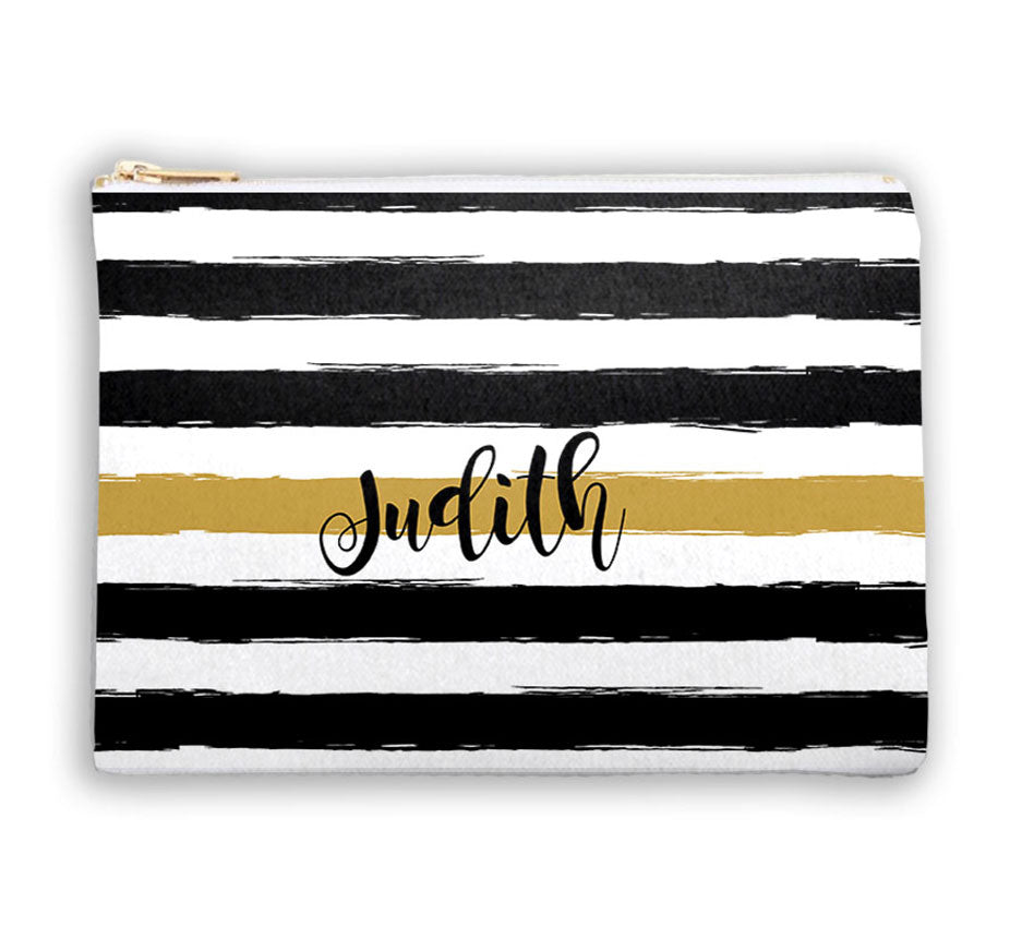 Monogrammed  Cosmetic Bag - Black and Gold Stripe