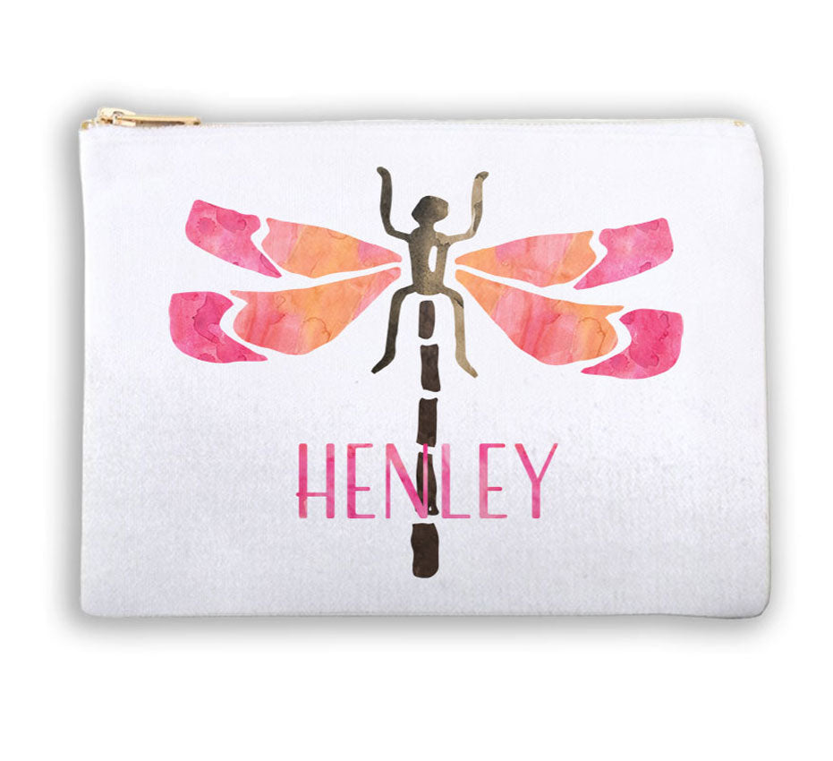Monogrammed Cosmetic Bag - Dragonfly