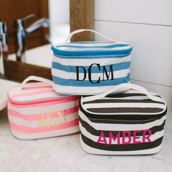 Striped Monogram Cosmetic Case - 3 Colors